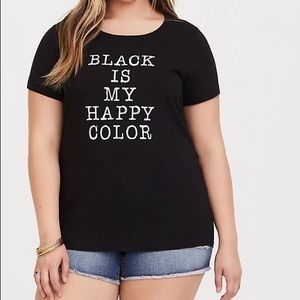 Torrid BLACK is my HAPPY COLOR CREW SLIM Fit tee